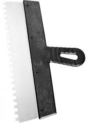 Шпатель зубчатый 250мм зуб 4х4мм СИБРТЕХ нержавеющая сталь, пластмассовая рукоятка