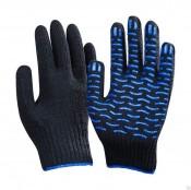 Перчатки с ПВХ 6Н Волна Люкс класс 10 размер 24 (10) черные