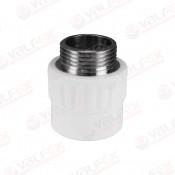 Муфта PP-R комбинированн белый Ду 25х1/2 НР VALFEX (100/25)